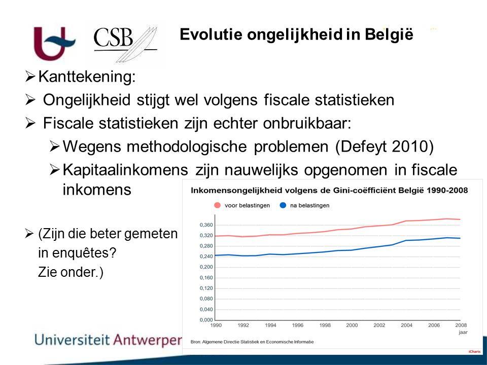 6  Kanttekening:  Ongelijkheid stijgt wel volgens fiscale statistieken  Fiscale statistieken zijn echter onbruikbaar:  Wegens methodologische problemen (Defeyt 2010)  Kapitaalinkomens zijn nauwelijks opgenomen in fiscale inkomens  (Zijn die beter gemeten in enquêtes.