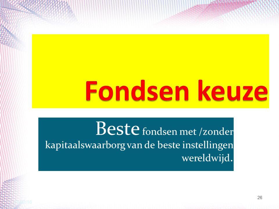 Beste fondsen met /zonder kapitaalswaarborg van de beste instellingen wereldwijd. 20/02/16 26