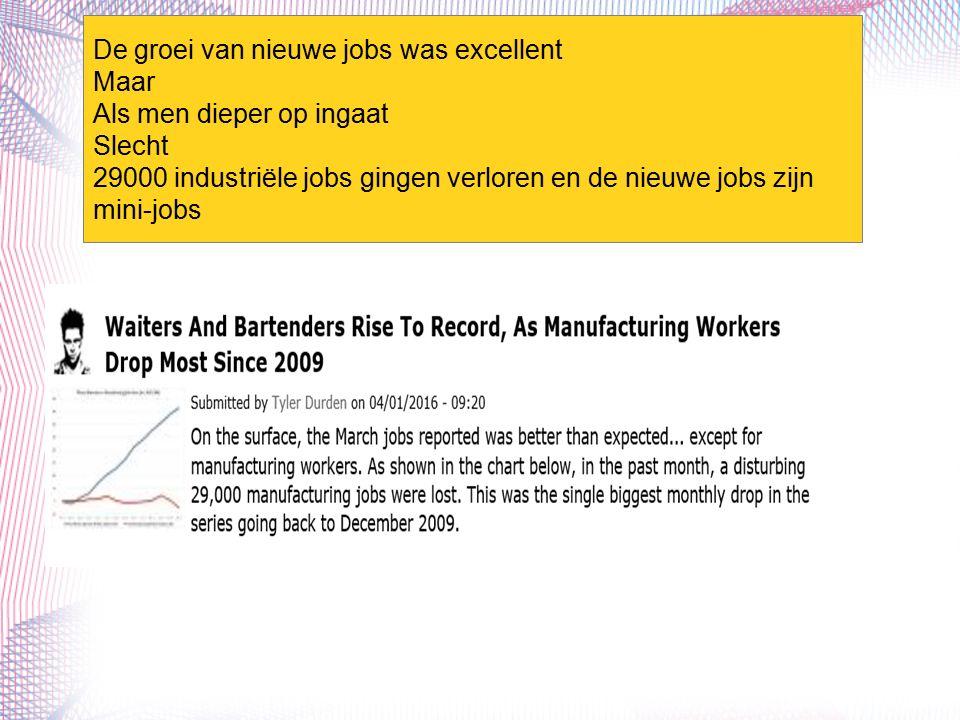De groei van nieuwe jobs was excellent Maar Als men dieper op ingaat Slecht 29000 industriële jobs gingen verloren en de nieuwe jobs zijn mini-jobs