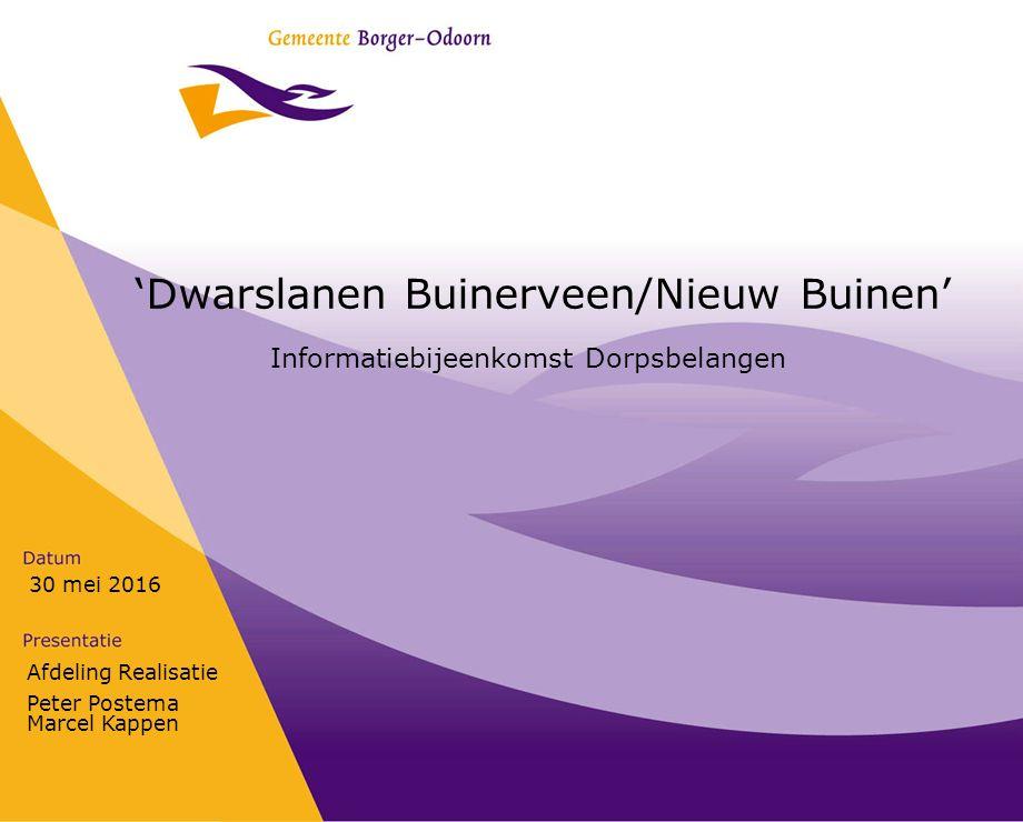 Afdeling Realisatie Peter Postema Marcel Kappen 30 mei 2016 'Dwarslanen Buinerveen/Nieuw Buinen' Informatiebijeenkomst Dorpsbelangen