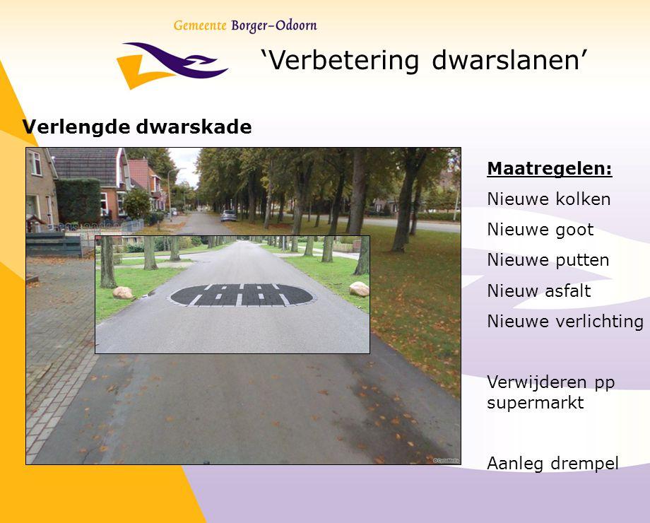'Verbetering dwarslanen' Verlengde dwarskade Maatregelen: Nieuwe kolken Nieuwe goot Nieuwe putten Nieuw asfalt Nieuwe verlichting Verwijderen pp super