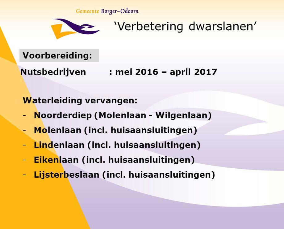 'Verbetering dwarslanen' Voorbereiding: Nutsbedrijven : mei 2016 – april 2017 Waterleiding vervangen: -Noorderdiep (Molenlaan - Wilgenlaan) -Molenlaan (incl.