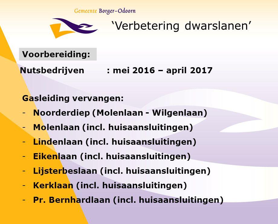 'Verbetering dwarslanen' Voorbereiding: Nutsbedrijven : mei 2016 – april 2017 Gasleiding vervangen: -Noorderdiep (Molenlaan - Wilgenlaan) -Molenlaan (incl.