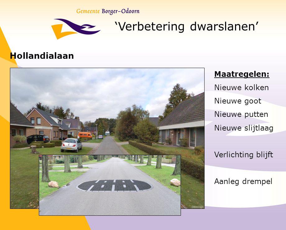 'Verbetering dwarslanen' Hollandialaan Maatregelen: Nieuwe kolken Nieuwe goot Nieuwe putten Nieuwe slijtlaag Verlichting blijft Aanleg drempel