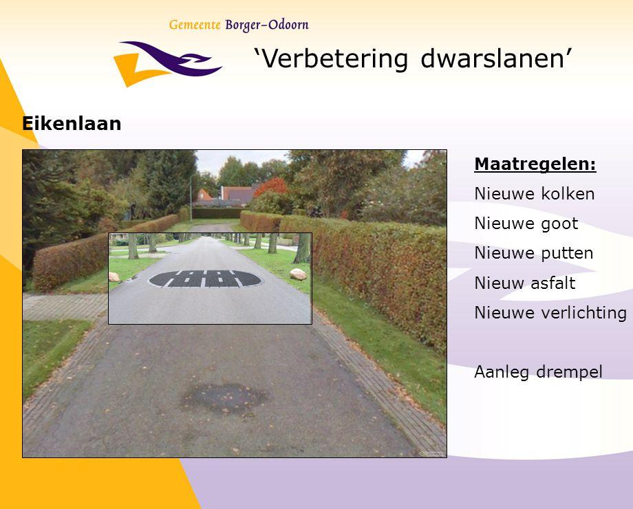 'Verbetering dwarslanen' Eikenlaan Maatregelen: Nieuwe kolken Nieuwe goot Nieuwe putten Nieuw asfalt Nieuwe verlichting Aanleg drempel