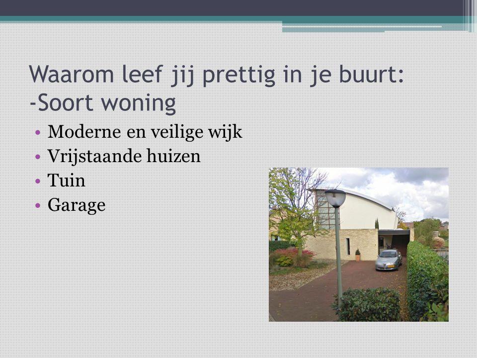 Waarom leef jij prettig in je buurt: -Soort woning Moderne en veilige wijk Vrijstaande huizen Tuin Garage