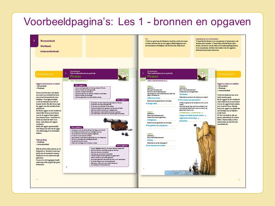 Voorbeeldpagina's: Les 1 - bronnen en opgaven