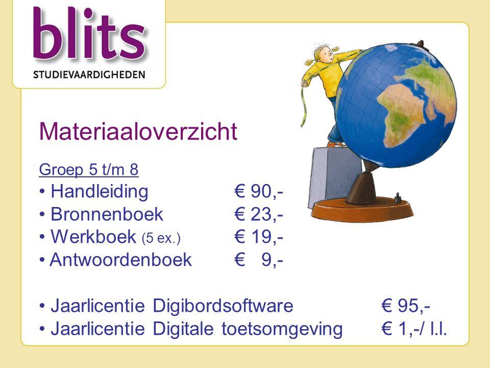 Materiaaloverzicht Groep 5 t/m 8 Handleiding € 90,- Bronnenboek € 23,- Werkboek (5 ex.) € 19,- Antwoordenboek € 9,- Jaarlicentie Digibordsoftware € 95,- Jaarlicentie Digitale toetsomgeving € 1,-/ l.l.
