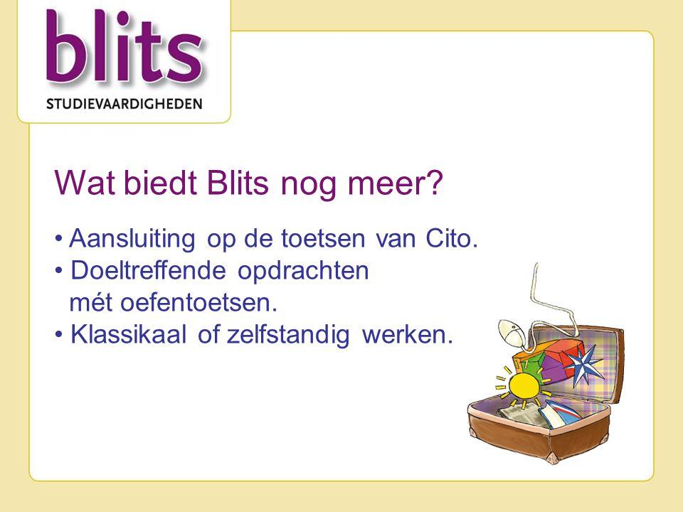 Wat biedt Blits nog meer. Aansluiting op de toetsen van Cito.