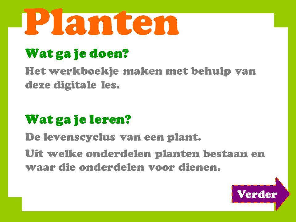 Planten Wat ga je doen? Het werkboekje maken met behulp van deze digitale les. Wat ga je leren? De levenscyclus van een plant. Uit welke onderdelen pl