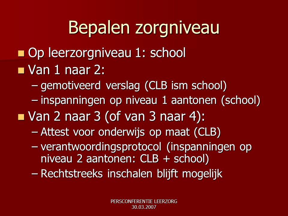 Bepalen zorgniveau Op leerzorgniveau 1: school Op leerzorgniveau 1: school Van 1 naar 2: Van 1 naar 2: –gemotiveerd verslag (CLB ism school) –inspanni