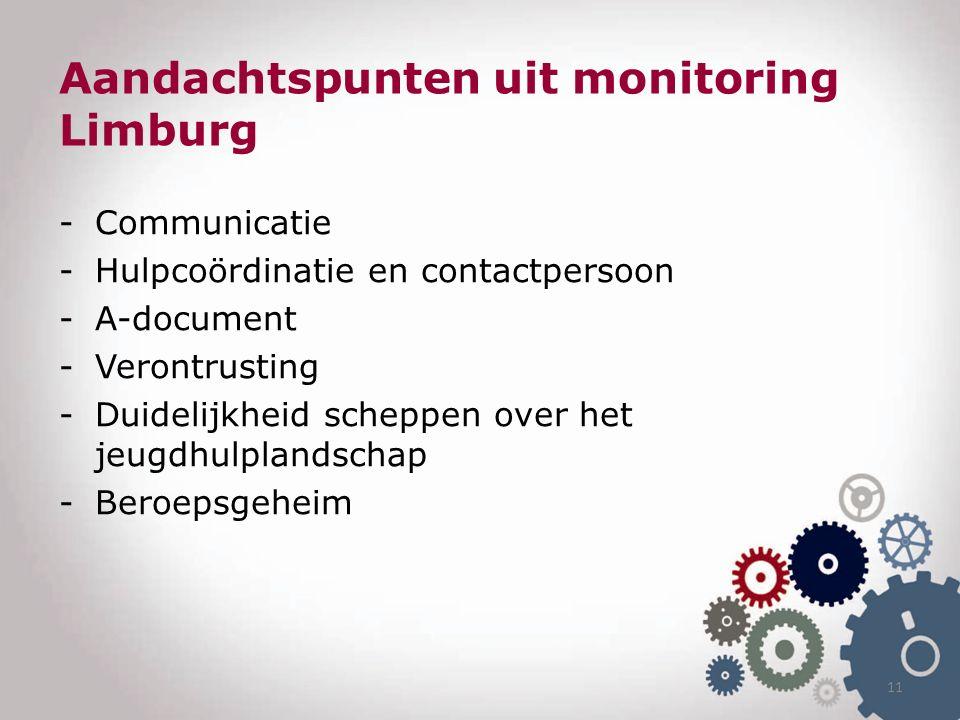 Aandachtspunten uit monitoring Limburg -Communicatie -Hulpcoördinatie en contactpersoon -A-document -Verontrusting -Duidelijkheid scheppen over het jeugdhulplandschap -Beroepsgeheim 11