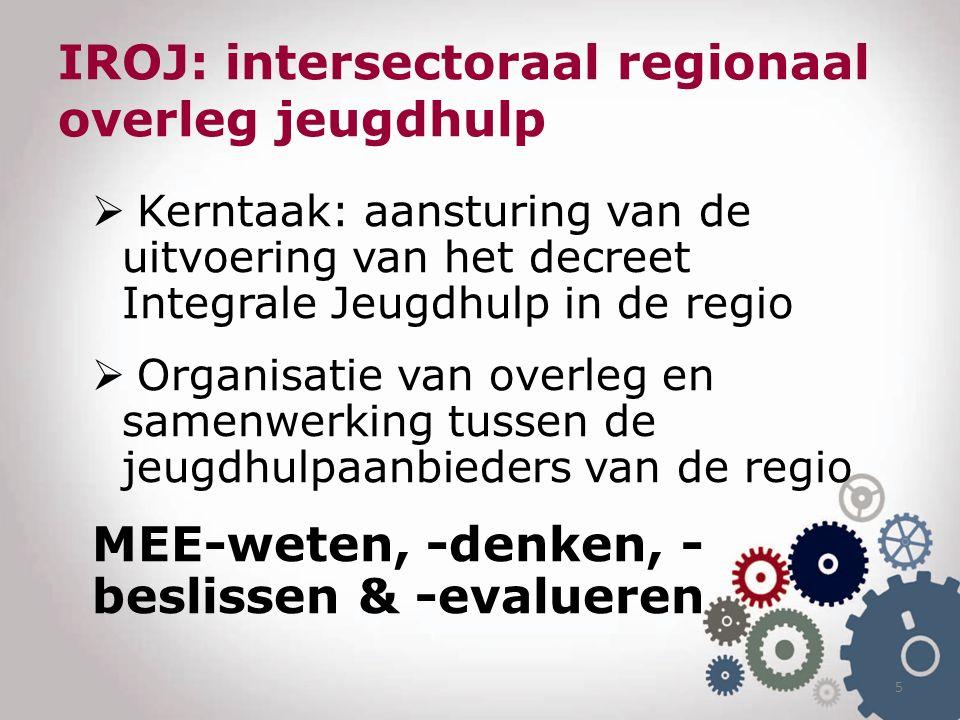 IROJ: intersectoraal regionaal overleg jeugdhulp  Kerntaak: aansturing van de uitvoering van het decreet Integrale Jeugdhulp in de regio  Organisatie van overleg en samenwerking tussen de jeugdhulpaanbieders van de regio MEE-weten, -denken, - beslissen & -evalueren 5