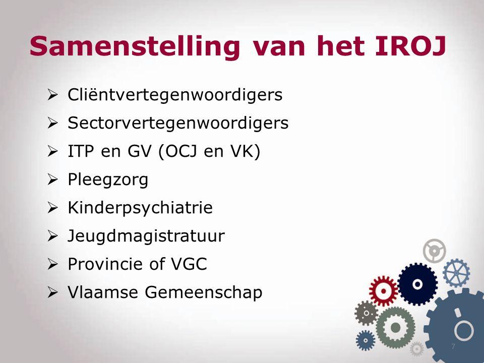 Samenstelling van het IROJ  Cliëntvertegenwoordigers  Sectorvertegenwoordigers  ITP en GV (OCJ en VK)  Pleegzorg  Kinderpsychiatrie  Jeugdmagistratuur  Provincie of VGC  Vlaamse Gemeenschap 7