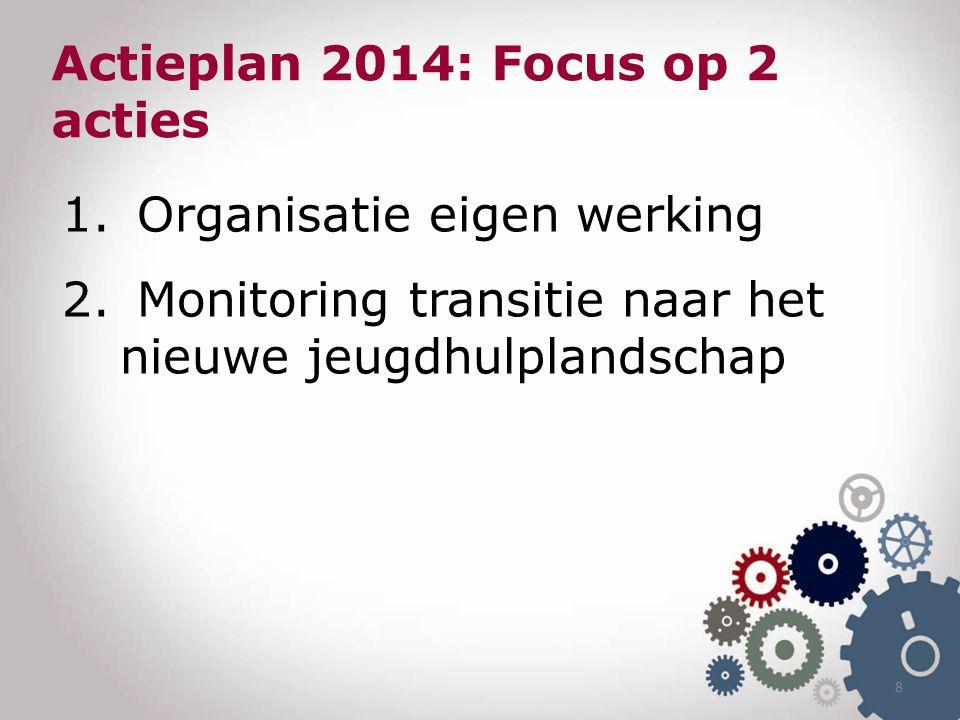 1. Organisatie eigen werking 2. Monitoring transitie naar het nieuwe jeugdhulplandschap 8 Actieplan 2014: Focus op 2 acties