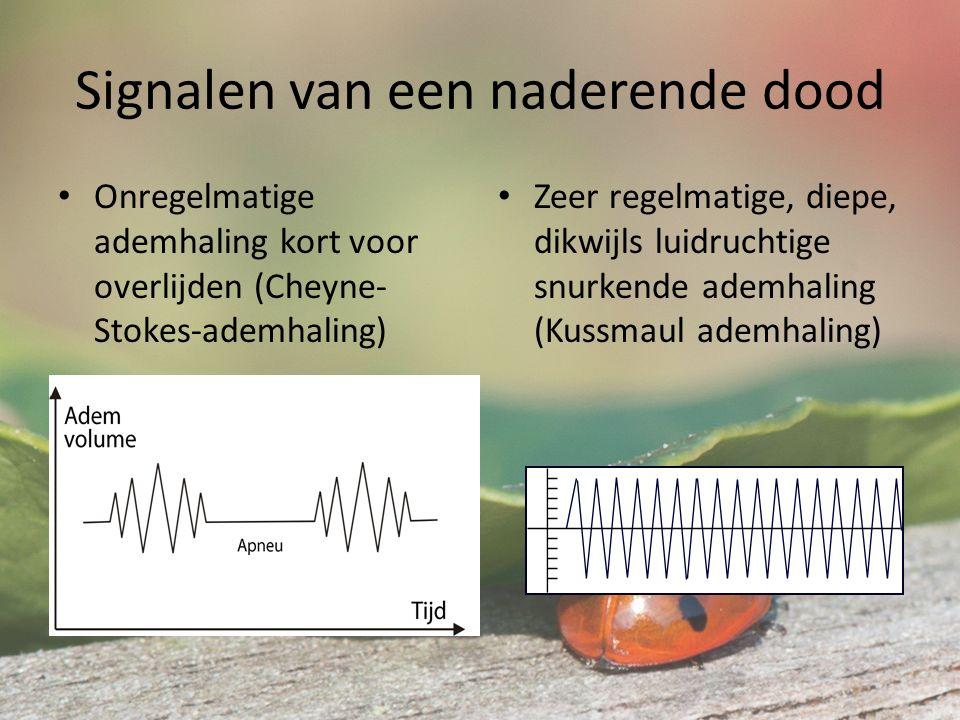 Signalen van een naderende dood Onregelmatige ademhaling kort voor overlijden (Cheyne- Stokes-ademhaling) Zeer regelmatige, diepe, dikwijls luidruchtige snurkende ademhaling (Kussmaul ademhaling)