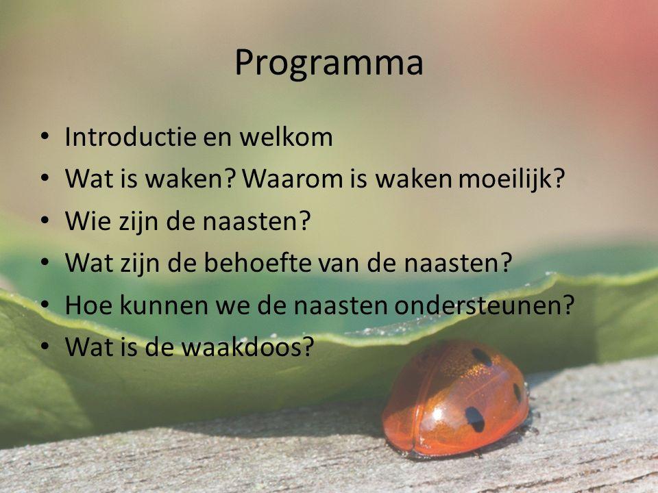 Programma Introductie en welkom Wat is waken. Waarom is waken moeilijk.