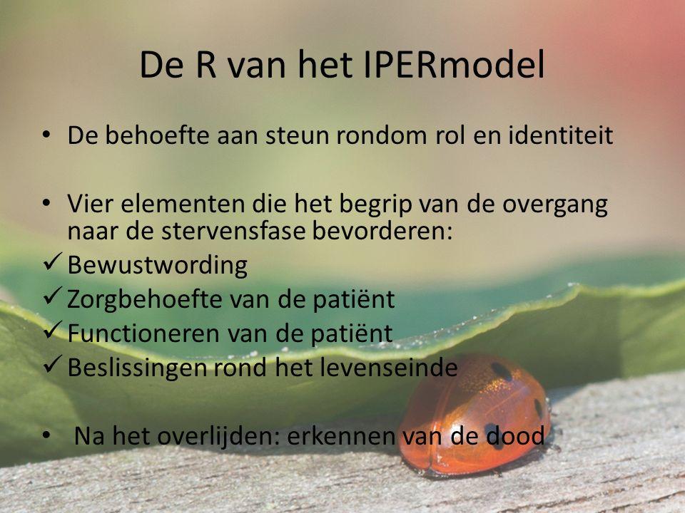 De R van het IPERmodel De behoefte aan steun rondom rol en identiteit Vier elementen die het begrip van de overgang naar de stervensfase bevorderen: Bewustwording Zorgbehoefte van de patiënt Functioneren van de patiënt Beslissingen rond het levenseinde Na het overlijden: erkennen van de dood