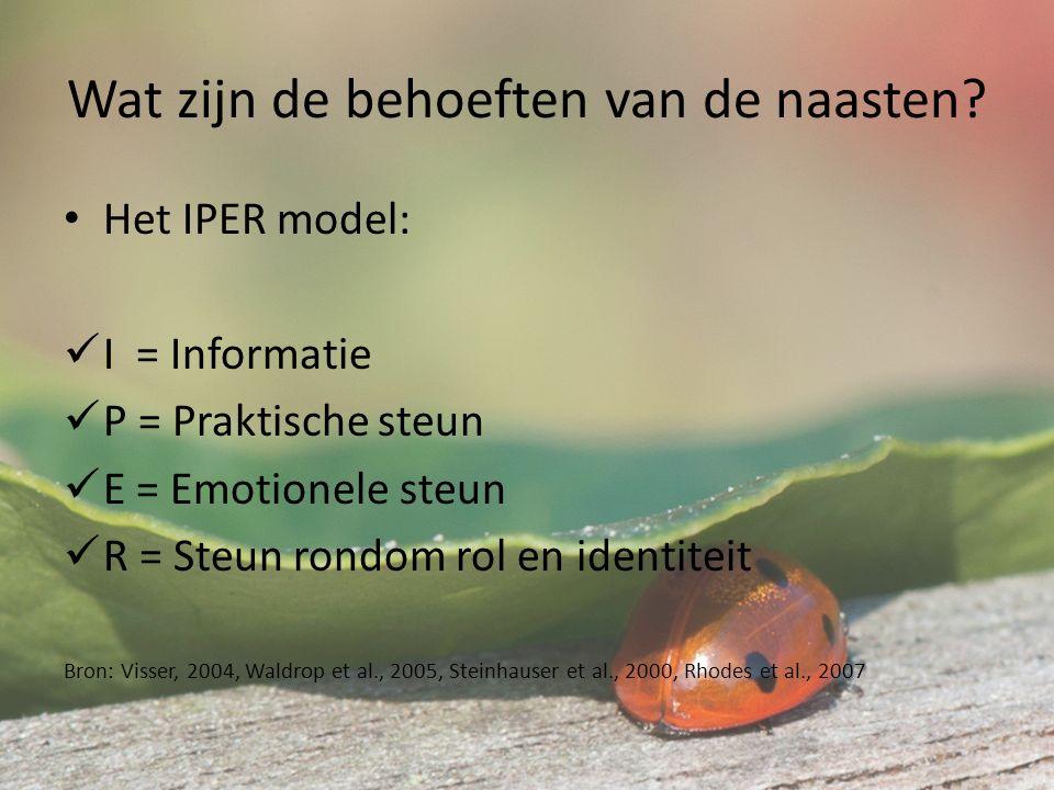 De P van het IPERmodel voor de vrijwilliger Welke praktische afspraken worden er gemaakt door u?