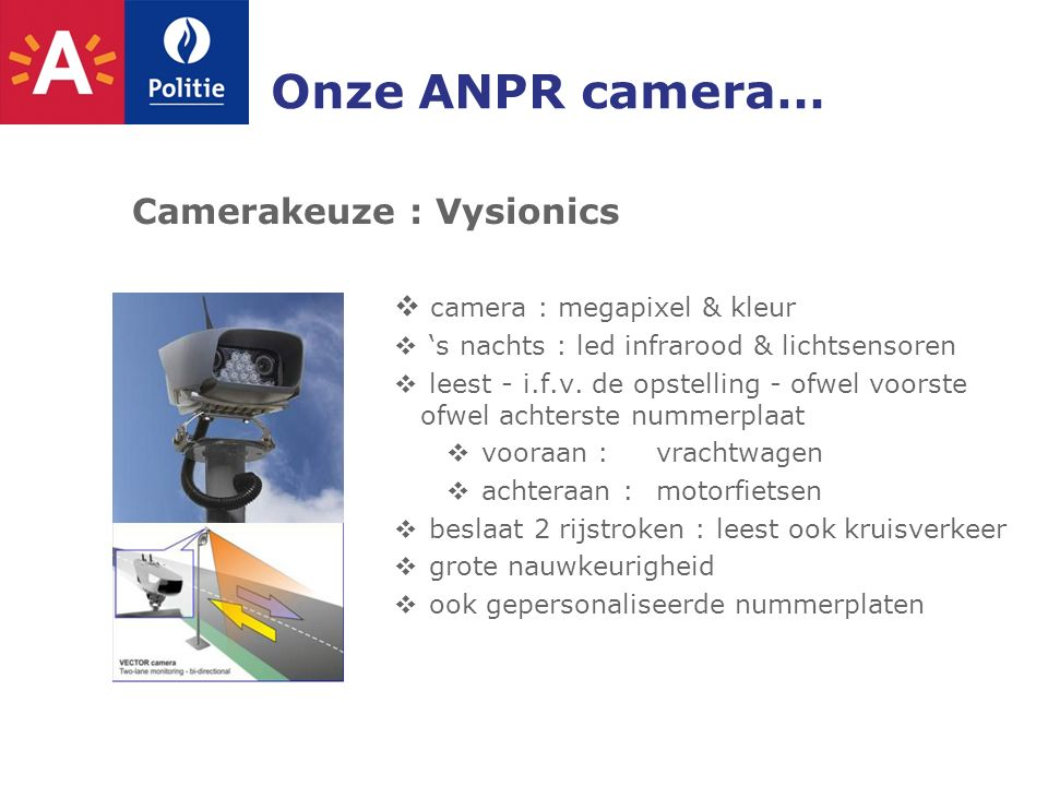 Onze ANPR camera… Camerakeuze : Vysionics  camera : megapixel & kleur  's nachts : led infrarood & lichtsensoren  leest - i.f.v.
