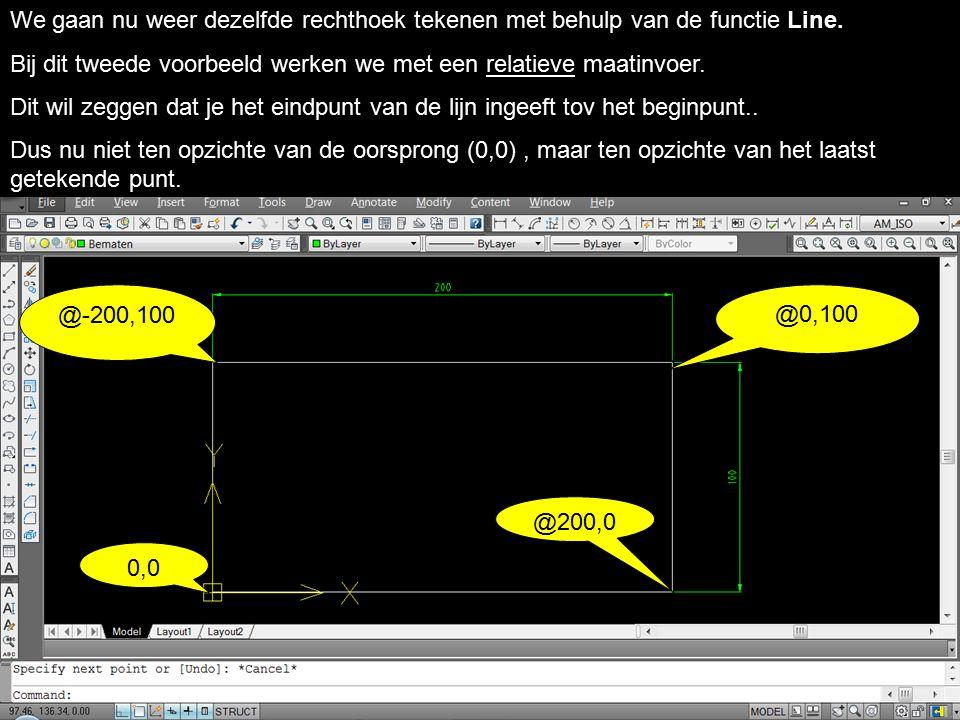 We gaan nu weer dezelfde rechthoek tekenen met behulp van de functie Line.