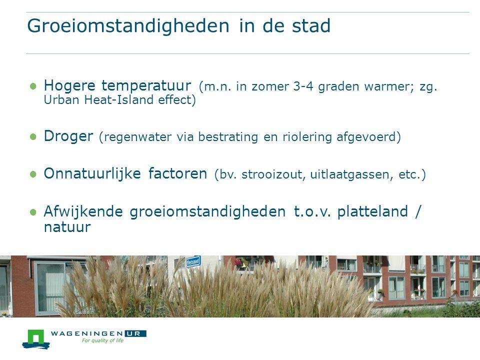 Hogere temperatuur (m.n. in zomer 3-4 graden warmer; zg.