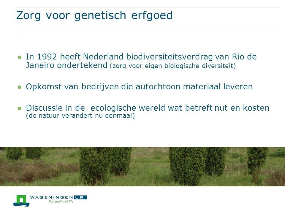 In 1992 heeft Nederland biodiversiteitsverdrag van Rio de Janeiro ondertekend (zorg voor eigen biologische diversiteit) Opkomst van bedrijven die autochtoon materiaal leveren Discussie in de ecologische wereld wat betreft nut en kosten (de natuur verandert nu eenmaal) Zorg voor genetisch erfgoed