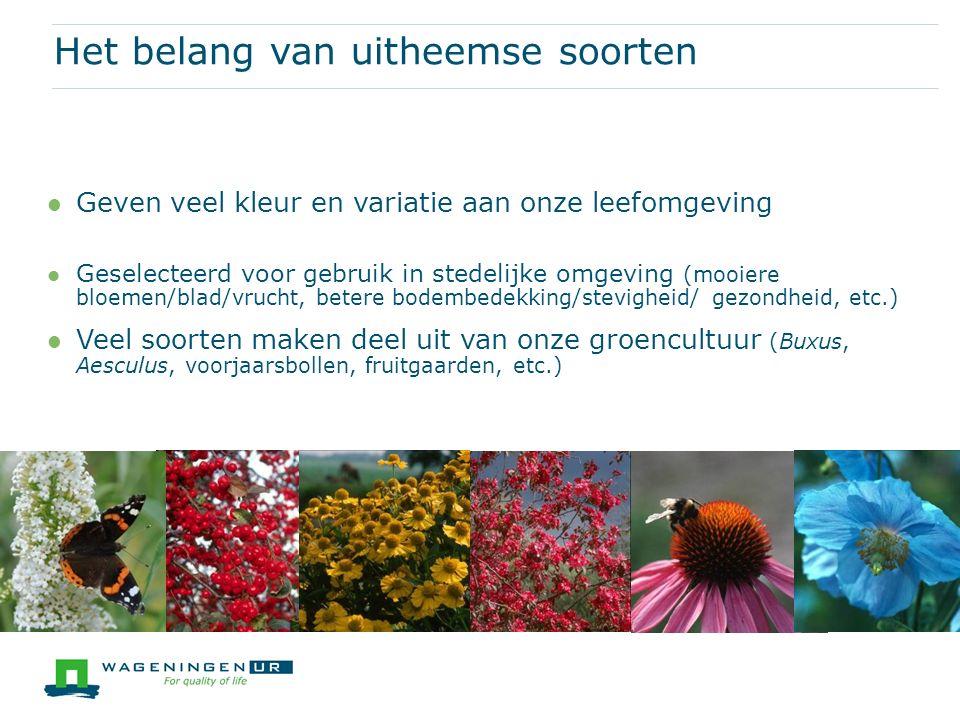 Het merendeel van de exoten overleeft niet in de Nederlandse natuur De afgelopen eeuwen zijn er ruim 230 nieuwe plantensoorten bijgekomen (16% van totale aantal) Diverse soorten worden gezien als een verrijking van onze natuur (bv.