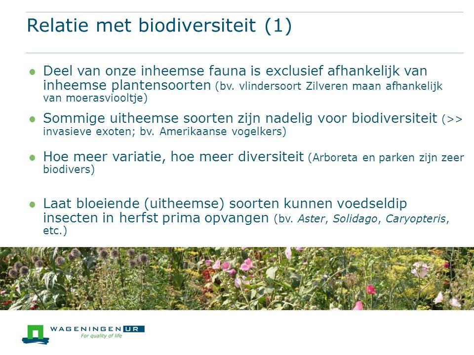 Deel van onze inheemse fauna is exclusief afhankelijk van inheemse plantensoorten (bv.