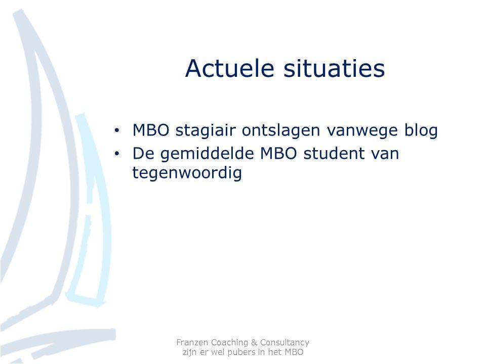 Actuele situaties MBO stagiair ontslagen vanwege blog De gemiddelde MBO student van tegenwoordig Franzen Coaching & Consultancy zijn er wel pubers in het MBO