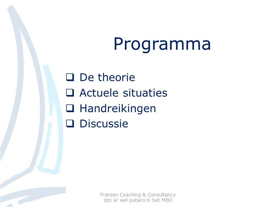 Programma  De theorie  Actuele situaties  Handreikingen  Discussie Franzen Coaching & Consultancy zijn er wel pubers in het MBO