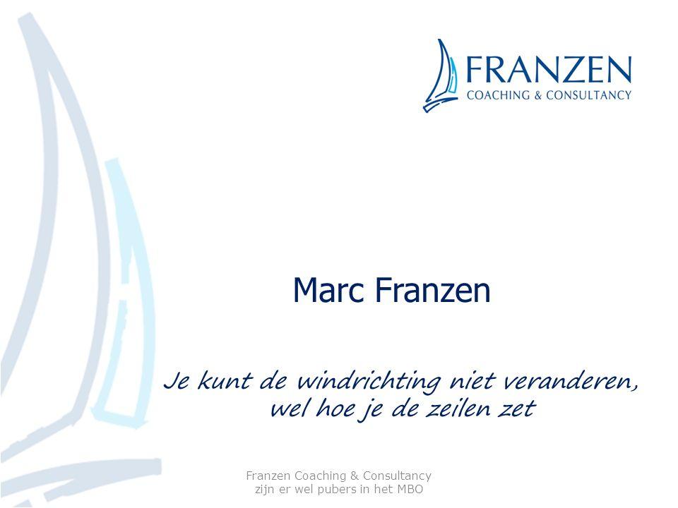 Marc Franzen Franzen Coaching & Consultancy zijn er wel pubers in het MBO Je kunt de windrichting niet veranderen, wel hoe je de zeilen zet