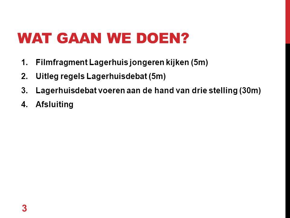1.Filmfragment Lagerhuis jongeren kijken (5m) 2.Uitleg regels Lagerhuisdebat (5m) 3.Lagerhuisdebat voeren aan de hand van drie stelling (30m) 4.Afslui
