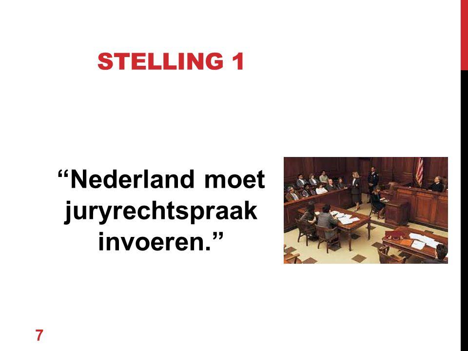 """Nederland moet juryrechtspraak invoeren."" 7 STELLING 1"