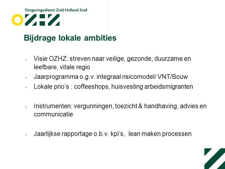 Bijdrage lokale ambities Visie OZHZ: streven naar veilige, gezonde, duurzame en leefbare, vitale regio Jaarprogramma o.g.v.