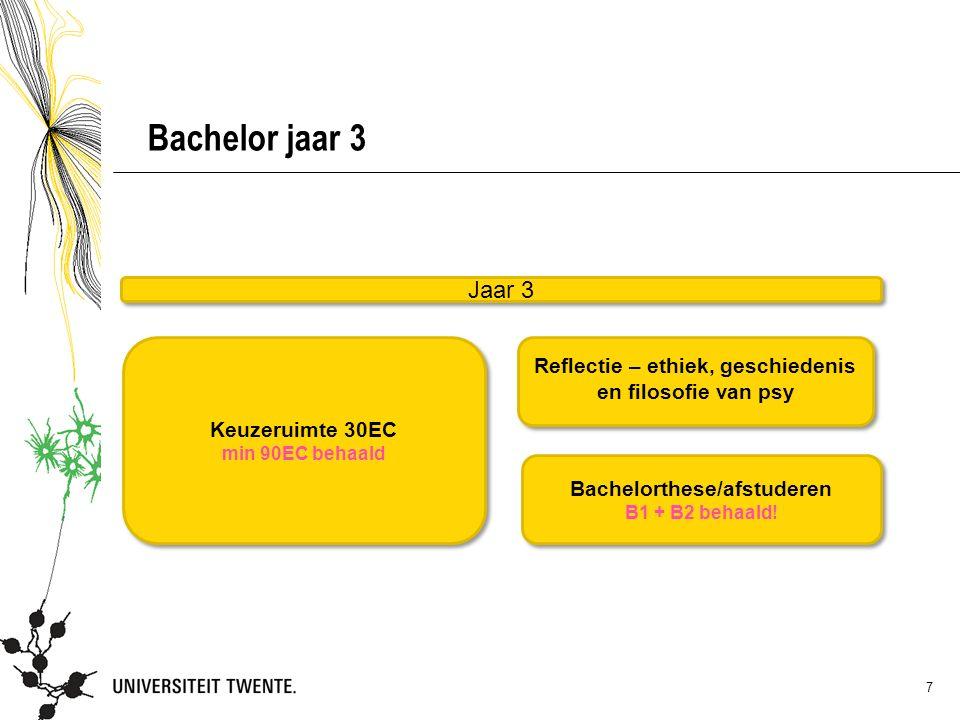 7 Bachelor jaar 3 Bachelorthese/afstuderen B1 + B2 behaald.