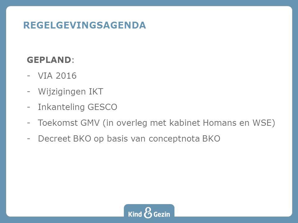 GEPLAND: -VIA 2016 -Wijzigingen IKT -Inkanteling GESCO -Toekomst GMV (in overleg met kabinet Homans en WSE) -Decreet BKO op basis van conceptnota BKO REGELGEVINGSAGENDA