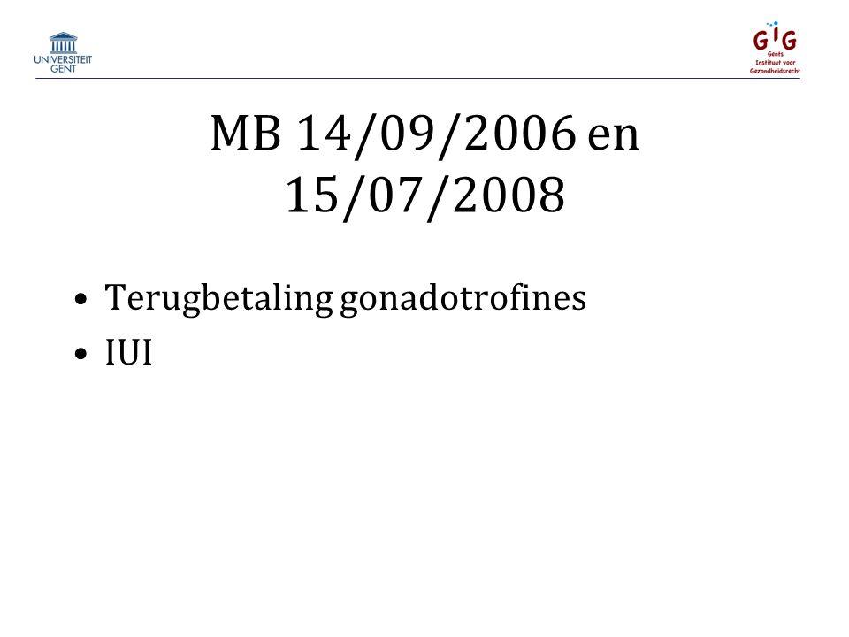 MB 14/09/2006 en 15/07/2008 Terugbetaling gonadotrofines IUI