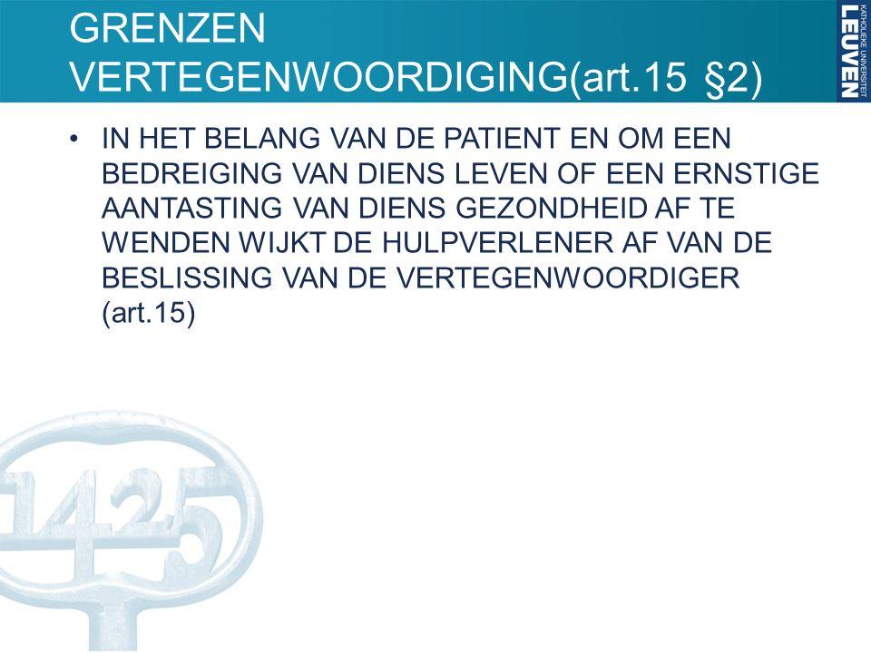 GRENZEN VERTEGENWOORDIGING(art.15 §2) IN HET BELANG VAN DE PATIENT EN OM EEN BEDREIGING VAN DIENS LEVEN OF EEN ERNSTIGE AANTASTING VAN DIENS GEZONDHEID AF TE WENDEN WIJKT DE HULPVERLENER AF VAN DE BESLISSING VAN DE VERTEGENWOORDIGER (art.15)