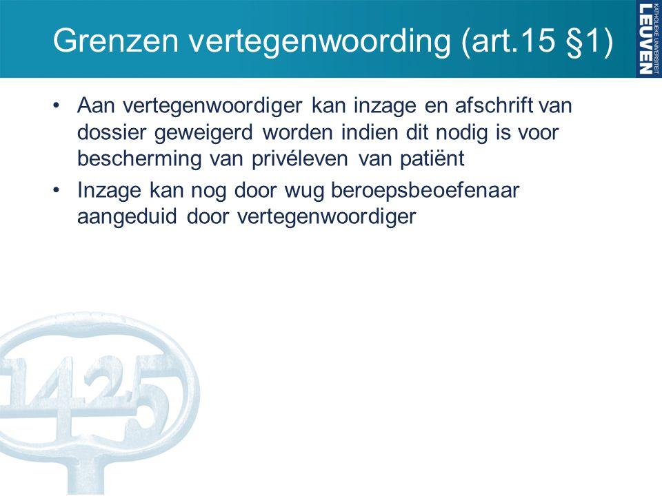 Grenzen vertegenwoording (art.15 §1) Aan vertegenwoordiger kan inzage en afschrift van dossier geweigerd worden indien dit nodig is voor bescherming van privéleven van patiënt Inzage kan nog door wug beroepsbeoefenaar aangeduid door vertegenwoordiger