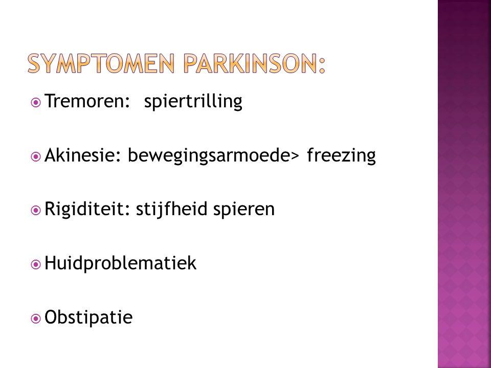  Tremoren: spiertrilling  Akinesie: bewegingsarmoede> freezing  Rigiditeit: stijfheid spieren  Huidproblematiek  Obstipatie