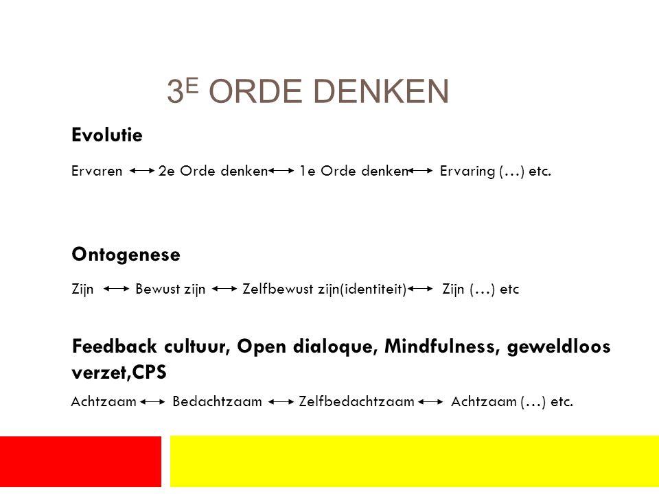 3 E ORDE DENKEN Evolutie Ervaren 2e Orde denken 1e Orde denken Ervaring (…) etc.