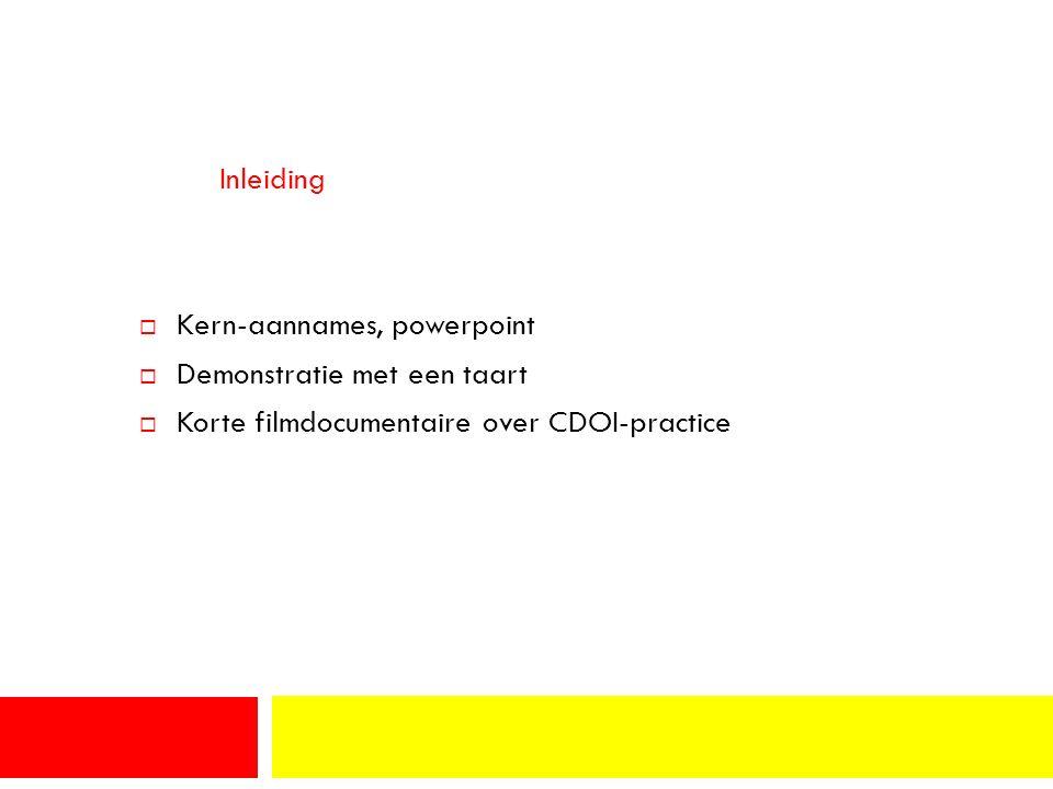Inleiding  Kern-aannames, powerpoint  Demonstratie met een taart  Korte filmdocumentaire over CDOI-practice