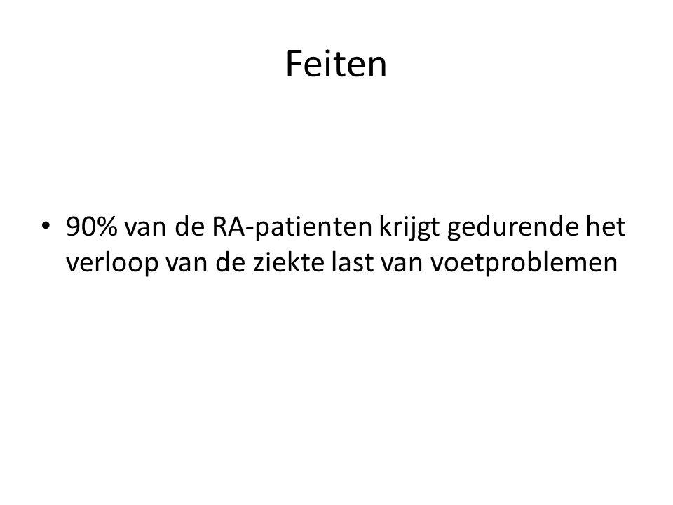 90% van de RA-patienten krijgt gedurende het verloop van de ziekte last van voetproblemen