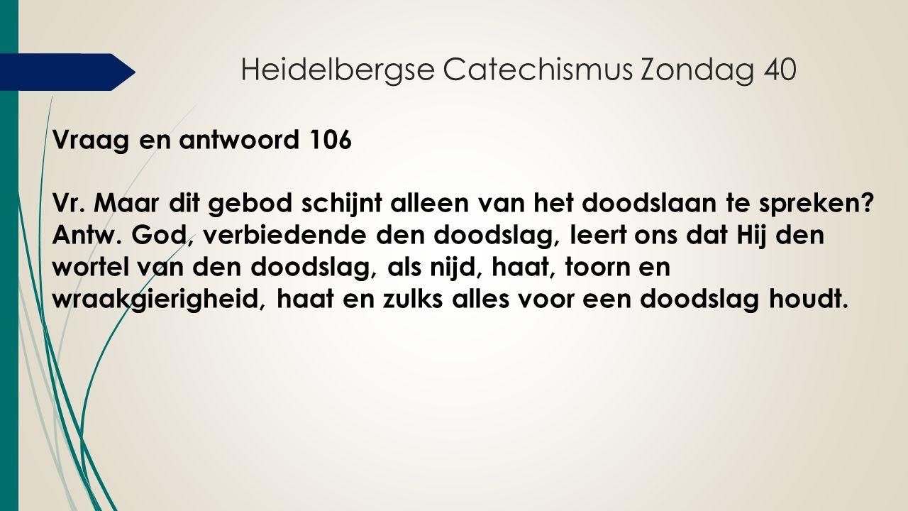Heidelbergse Catechismus Zondag 40 Vraag en antwoord 106 Vr.