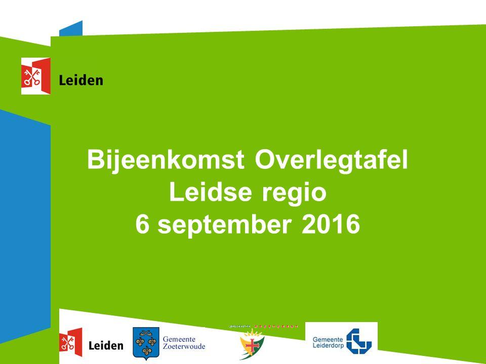 Bijeenkomst Overlegtafel Leidse regio 6 september 2016