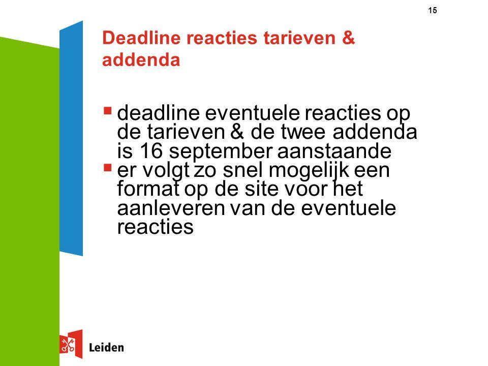 Deadline reacties tarieven & addenda  deadline eventuele reacties op de tarieven & de twee addenda is 16 september aanstaande  er volgt zo snel mogelijk een format op de site voor het aanleveren van de eventuele reacties 15