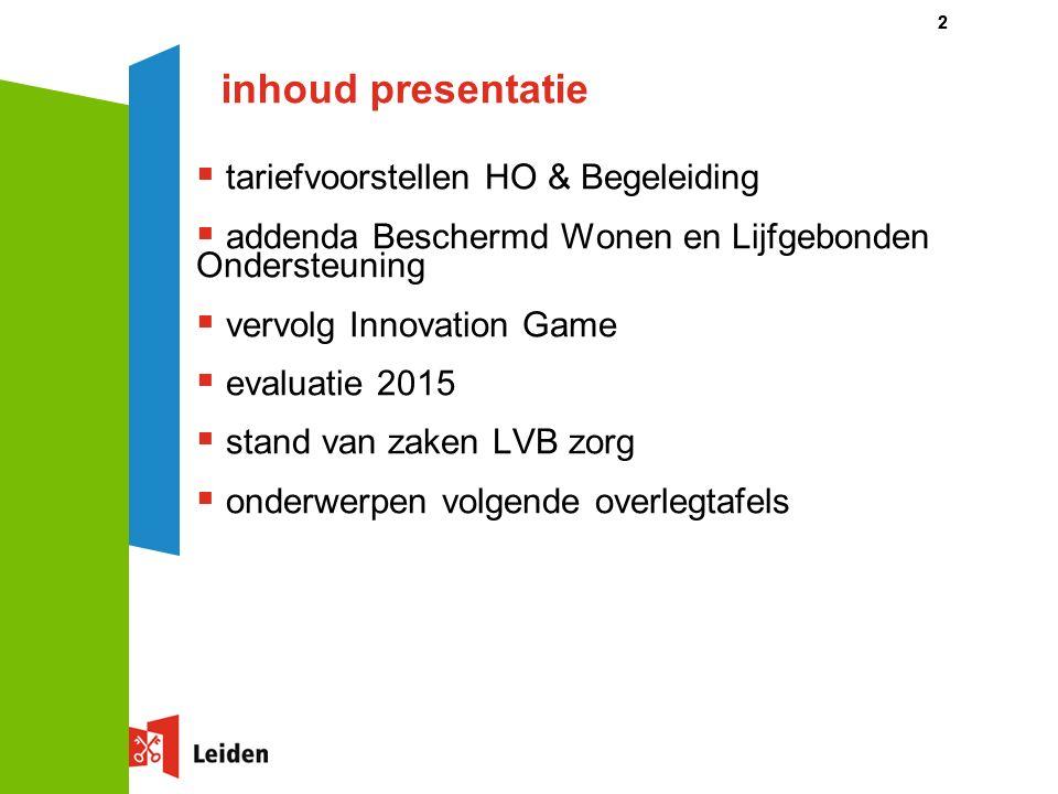 inhoud presentatie  tariefvoorstellen HO & Begeleiding  addenda Beschermd Wonen en Lijfgebonden Ondersteuning  vervolg Innovation Game  evaluatie 2015  stand van zaken LVB zorg  onderwerpen volgende overlegtafels 22
