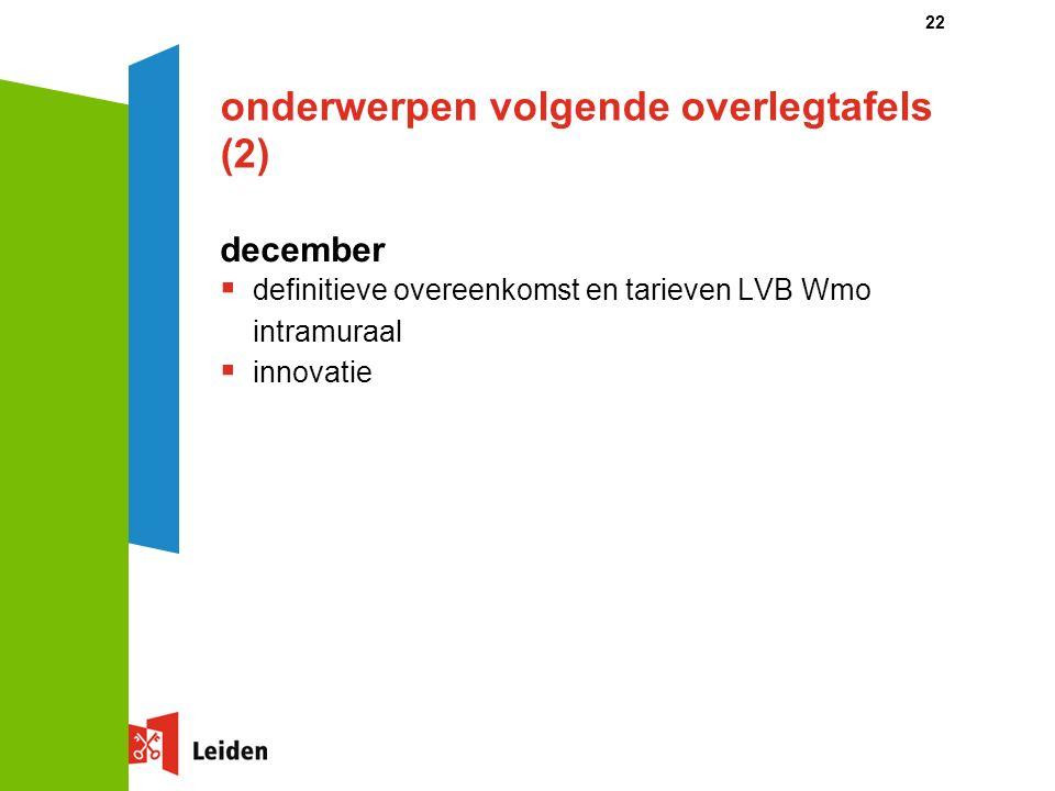 onderwerpen volgende overlegtafels (2) december  definitieve overeenkomst en tarieven LVB Wmo intramuraal  innovatie 22