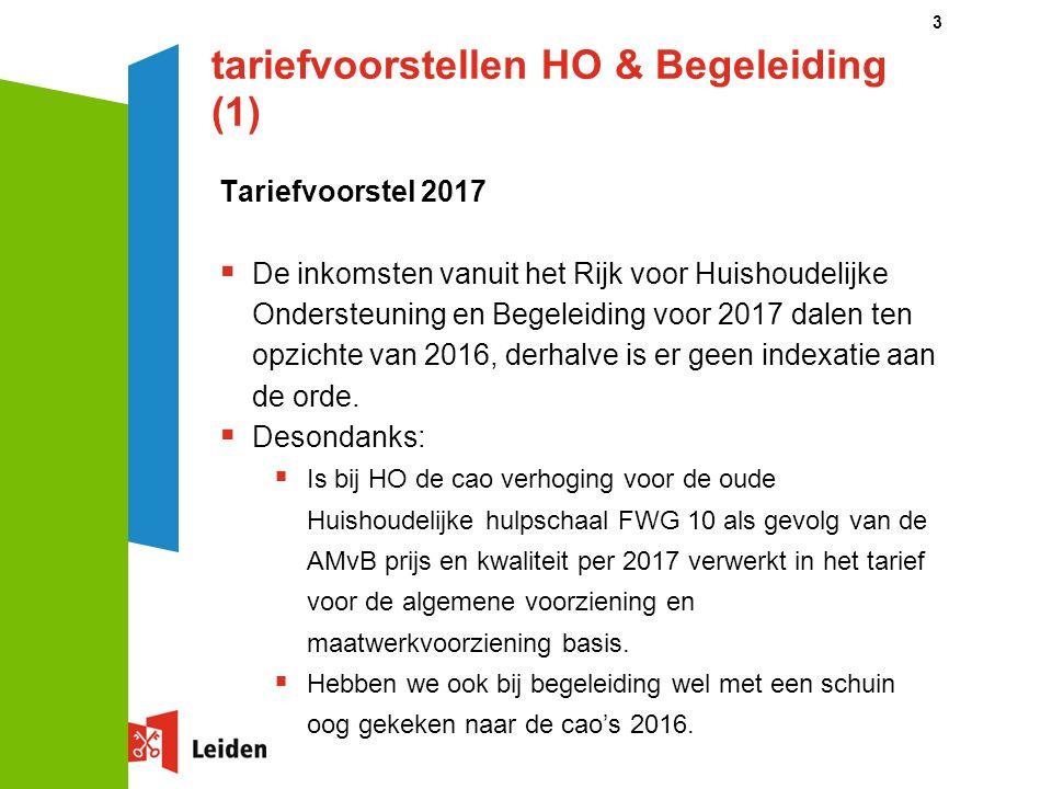 tariefvoorstellen HO & Begeleiding (1) Tariefvoorstel 2017  De inkomsten vanuit het Rijk voor Huishoudelijke Ondersteuning en Begeleiding voor 2017 dalen ten opzichte van 2016, derhalve is er geen indexatie aan de orde.